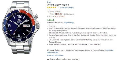 đồng hồ đeo tay trên Amazon hay Ebay có đảm bảo chất lượng?