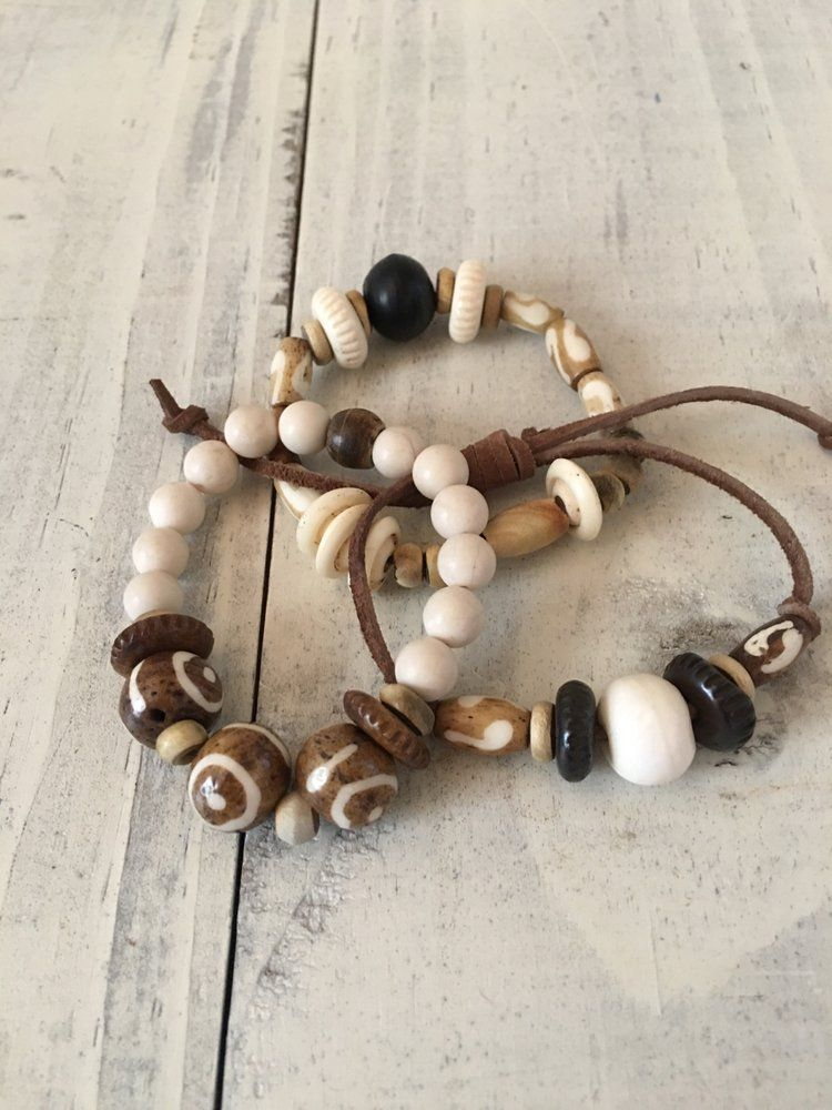 Ch jewelry brown triple stack bracelets african beaded