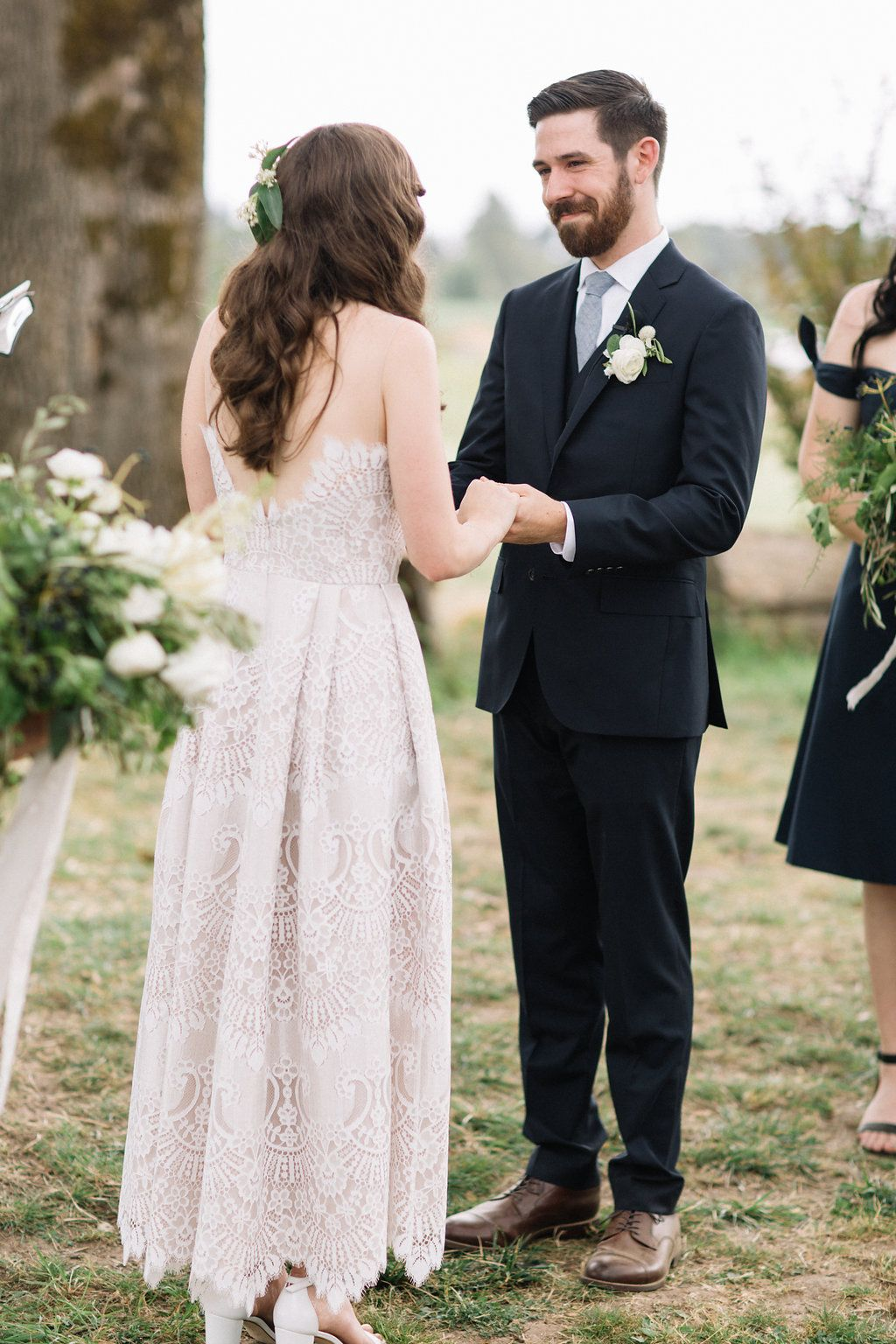 groom reaction minimal portland oregon wedding columbus
