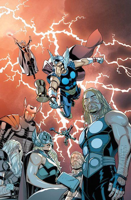 """Thor v5, 54 Colección ligada a """"Secret Wars"""". Con la primera parte de """"Thors"""". Los Thor de cada dominio, juntos en una única serie, como policías cósmicos. Allá donde haya problemas en el Mundo de Batalla, los Thor responderán a la llamada. Pero una serie de asesinatos podría hacer que se cuestionen su misión. Un drama policial al estilo Marvel. Con martillos. Muchos martillos."""