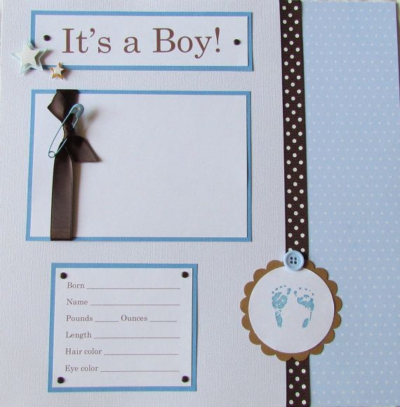20 BABY BOY Scrapbook Pages for 12x12 FiRsT YeAr ALbUm -- little boy BLUE and brown