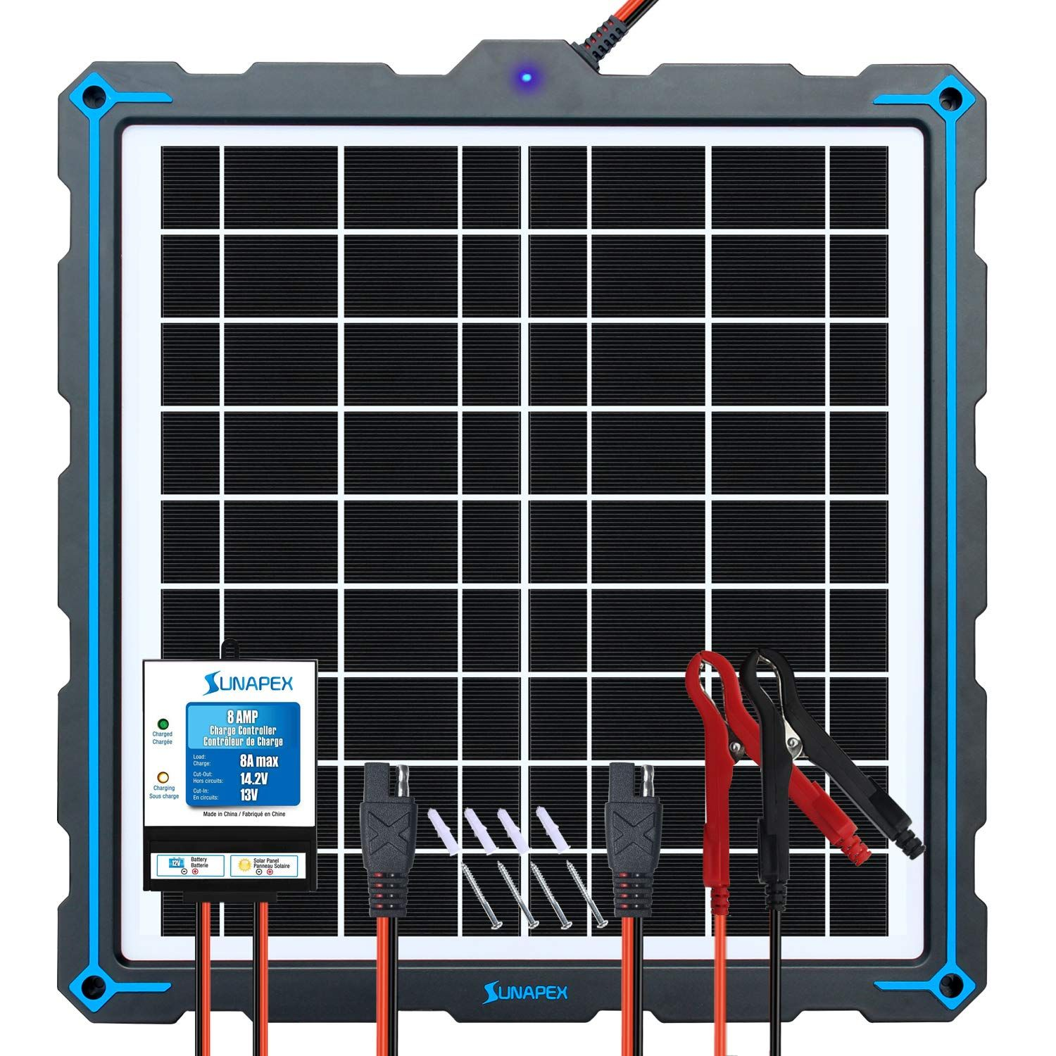 Sunapex Upgraded 20w Solar Panel Battery Charger Maintainer External Smart 3 Stages Pwm Charge Controller 12 In 2020 Solar Panel Battery Solar Panels Battery Charger