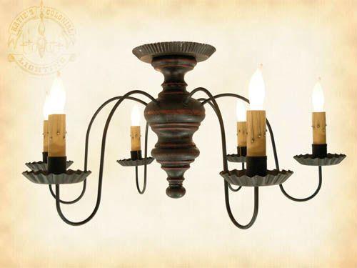 6 Arm Amber Chandelier Wooden Ceiling Light Primitive