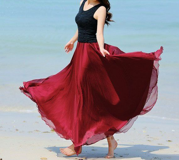 Dark Red Chiffon skirt Maxi Skirt Long by fashionclothingshow ...