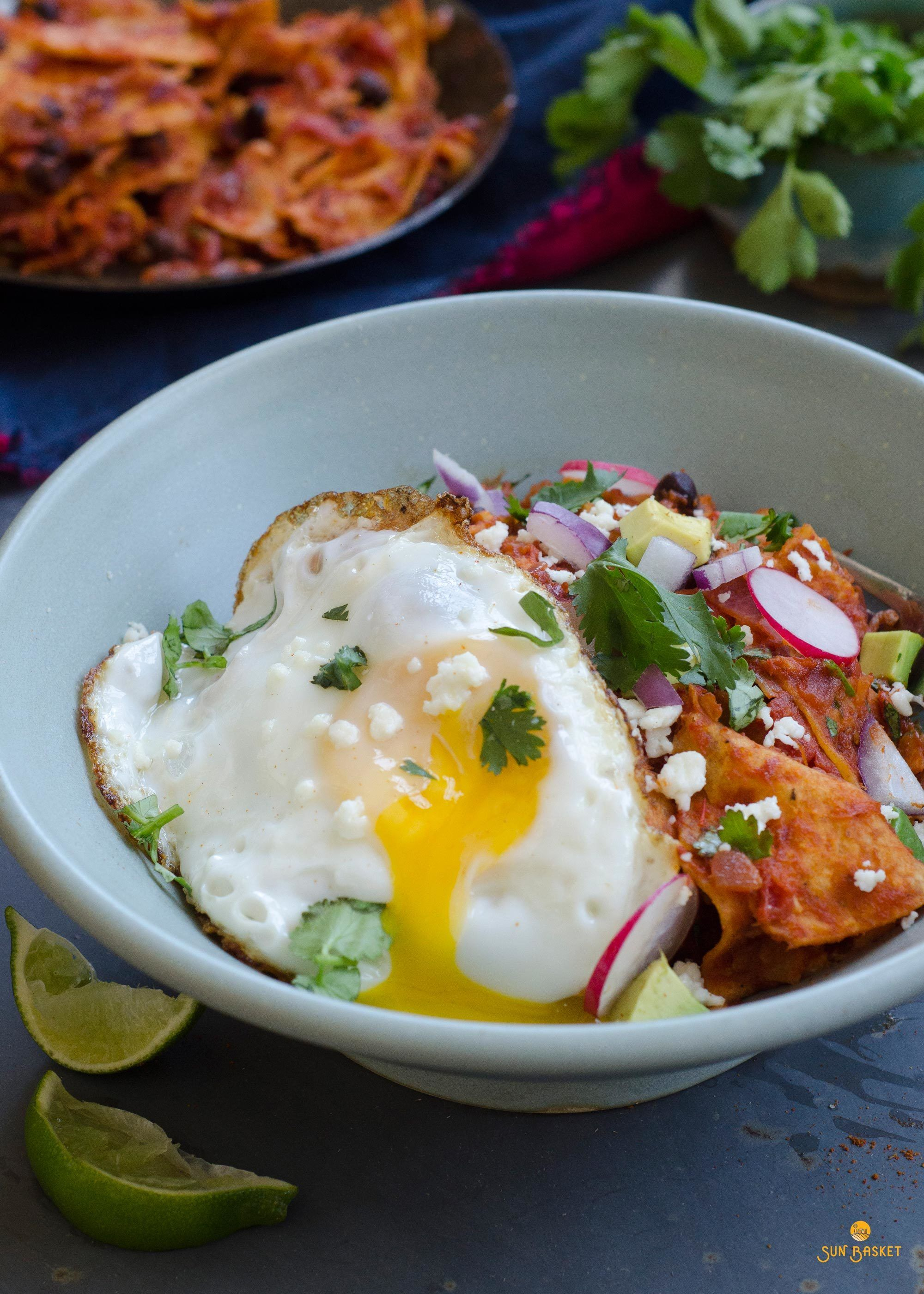 Chipotle chilaquiles with black beans | Recipe | Sunbasket ...