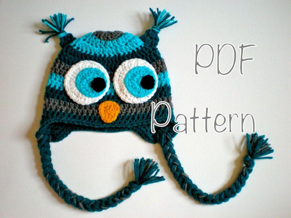 PATTERN: Striped Owl Hat, size newborn to adult, baby hat kid hat ...