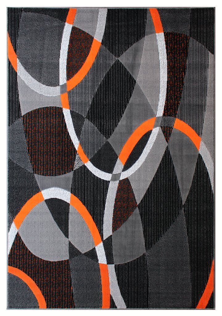 Masada Rugs Modern Contemporary Area Rug Orange Grey Black 8 Feet X 10 Feet Find Out More Details By Clicking The Image Th Area Rugs Rugs Colorful Rugs