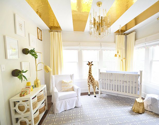 This is fun! A gold striped ceiling? Gives me ideas for other colors that would be great too!