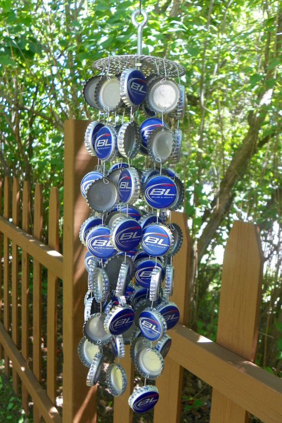 Bottlecap windchime bottle cap wind chime bud light for Crafts to do with beer bottle caps