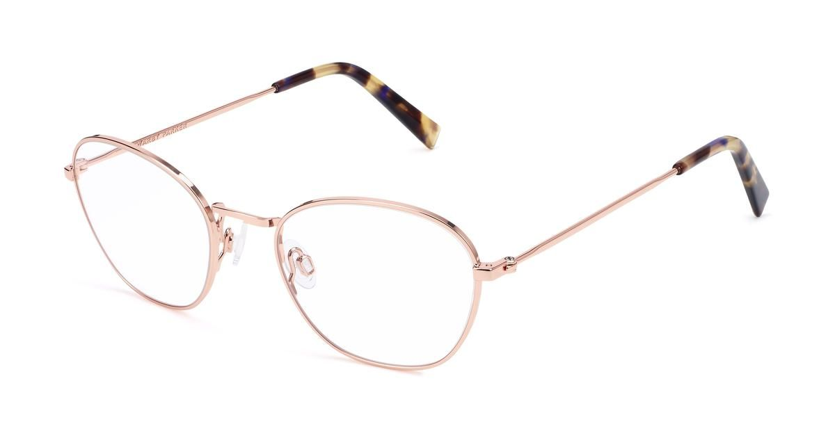 eb13480f64 Colby Eyeglasses in Rose Gold for Women. Colby s steel silhouette  delicately balances soft curves with angular edges while adjustable nose  pads enhance the ...