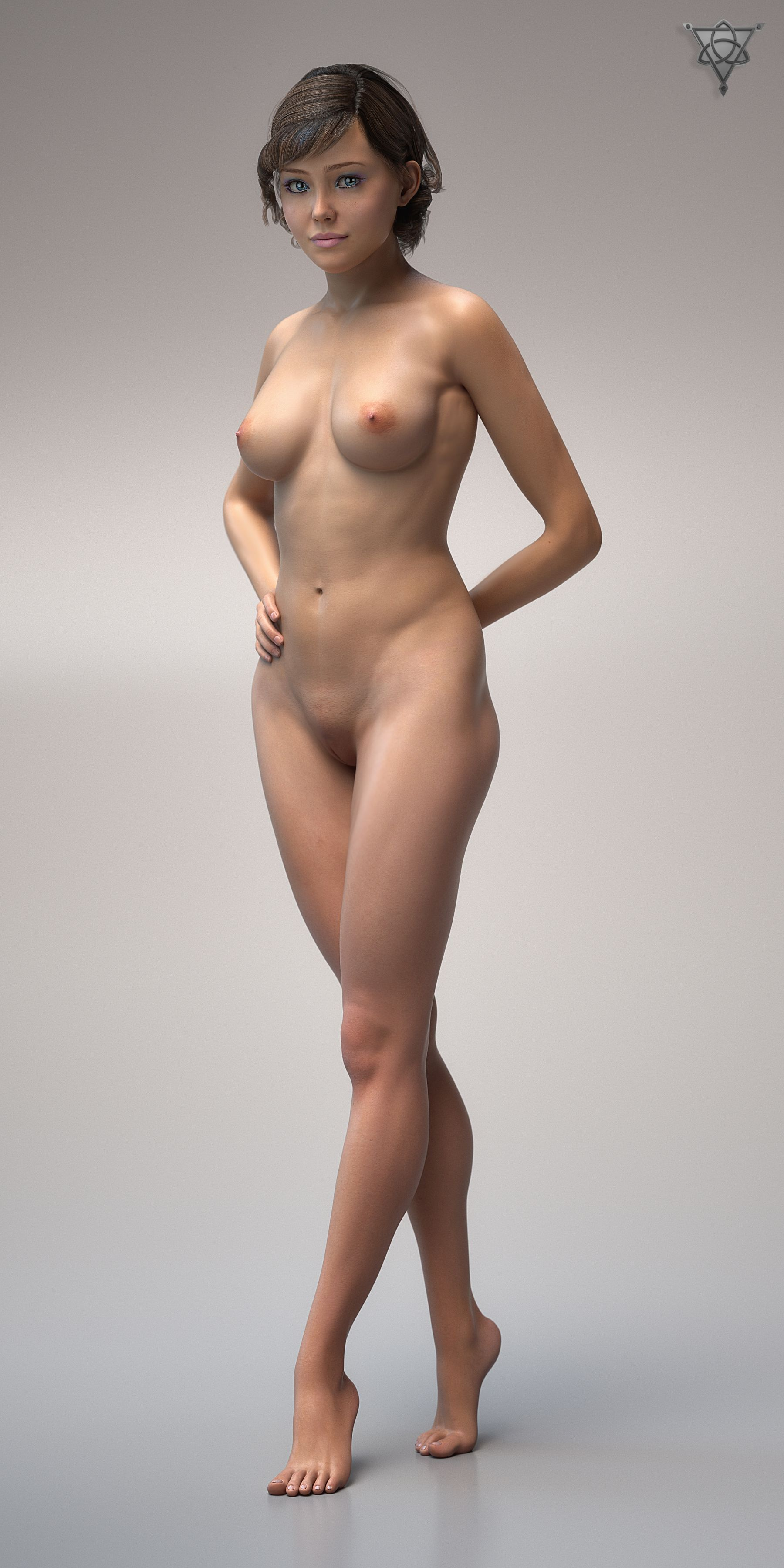 Nude Woman Full Front 3D Cg Model  3D Cgi Render  Art -6971