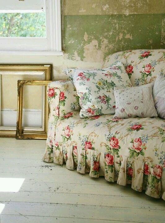 Captivating Floral Sofa, Chippy Peeling Paint