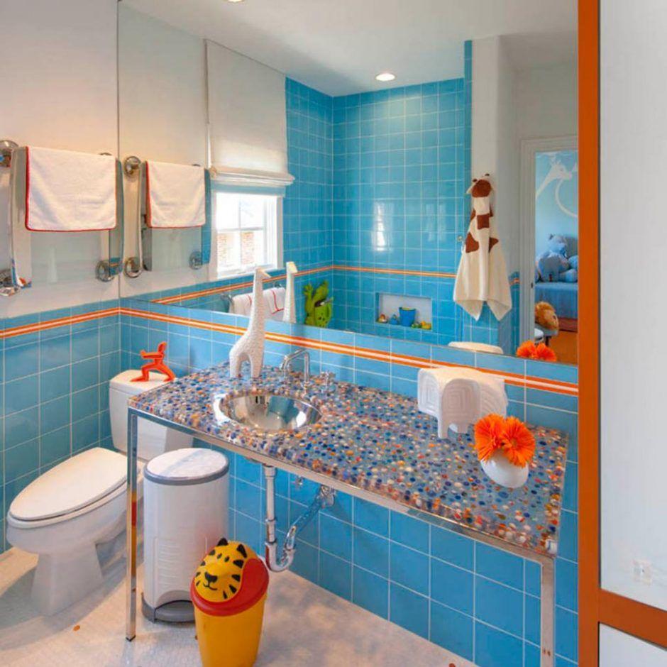 Attrayant Bathroom: Play Up Contrasts. Bathroom Color. Blue And Orange Bathroom.  Stainless Steel Vanity Legs. Blue Wall Tile. Yellow Trash Bin.