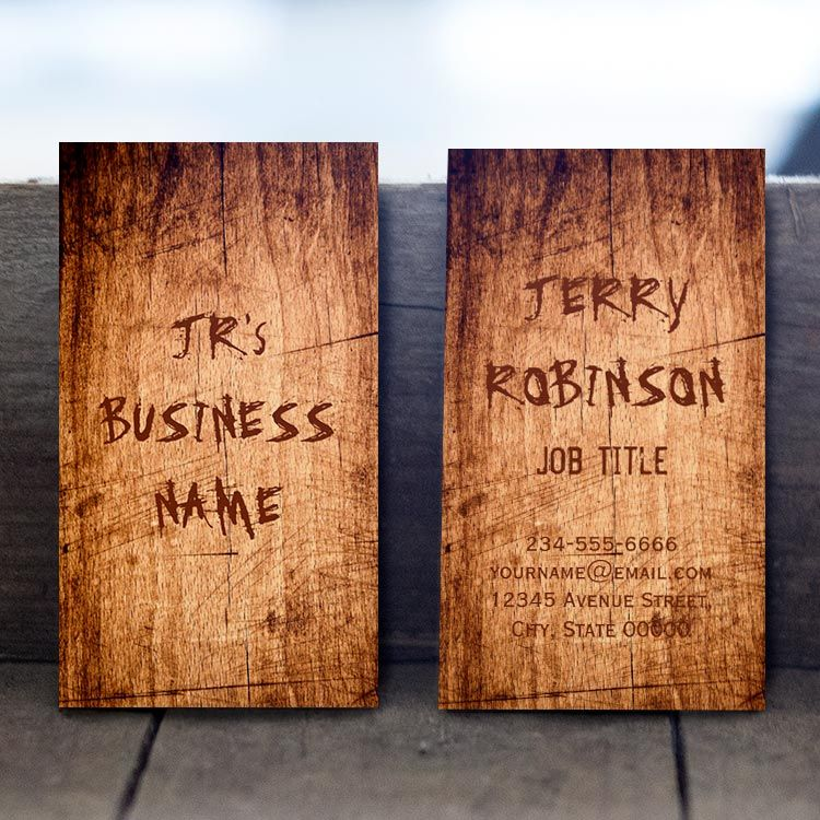 Western Rustic Scratched Wood Grain Cool Stylish Business Card ...
