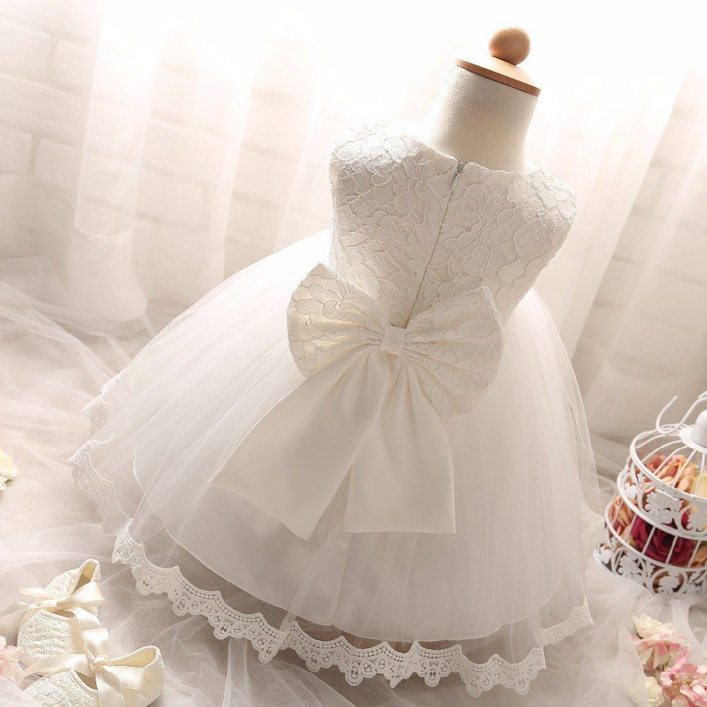 6b95edefa968 Summer White Newborn Baptism Baby Girls Dresses 1 Year Birthday Christening  Party Princess Infant Kids Dress Flower Girl Clothes