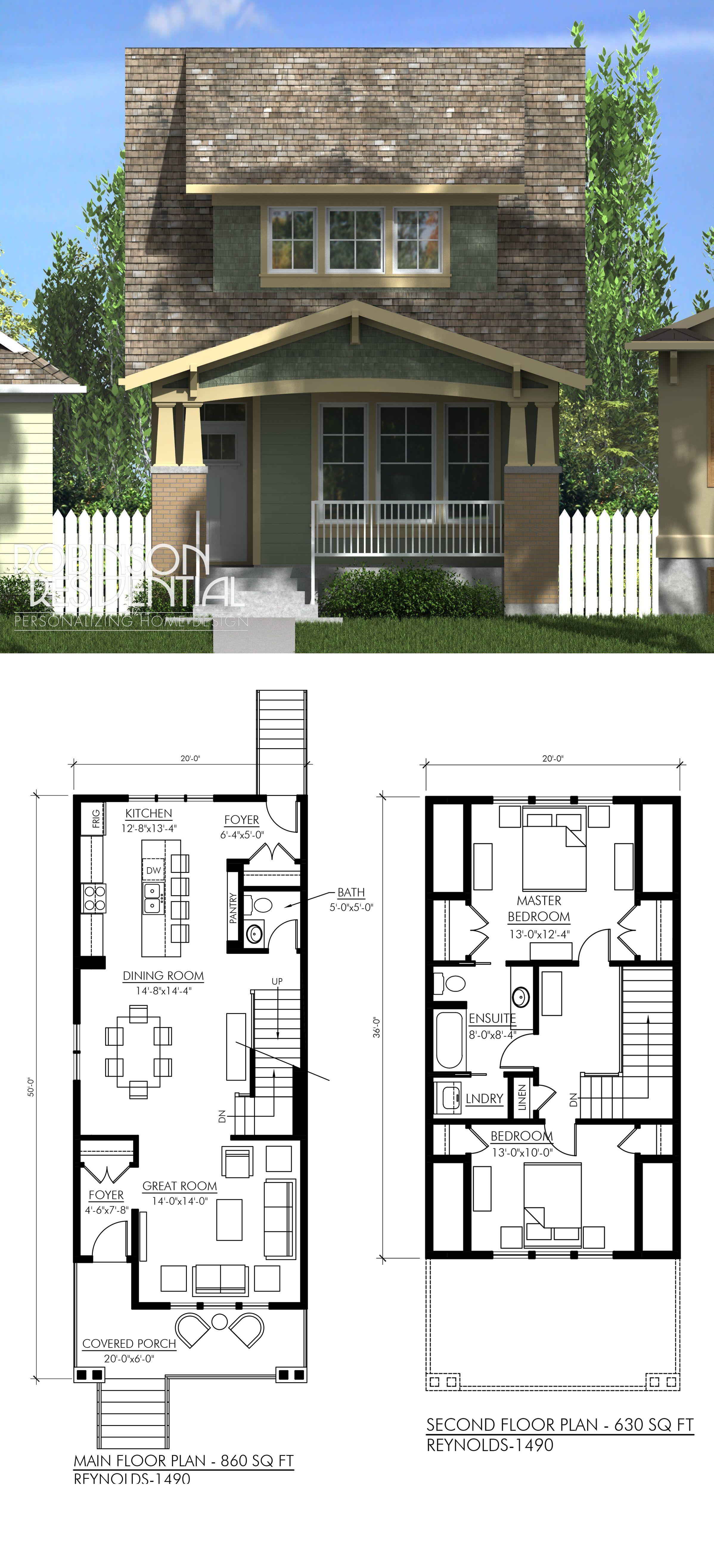 Craftsman Reynolds 1490 Robinson Plans Narrow House Plans New House Plans Narrow Lot House Plans