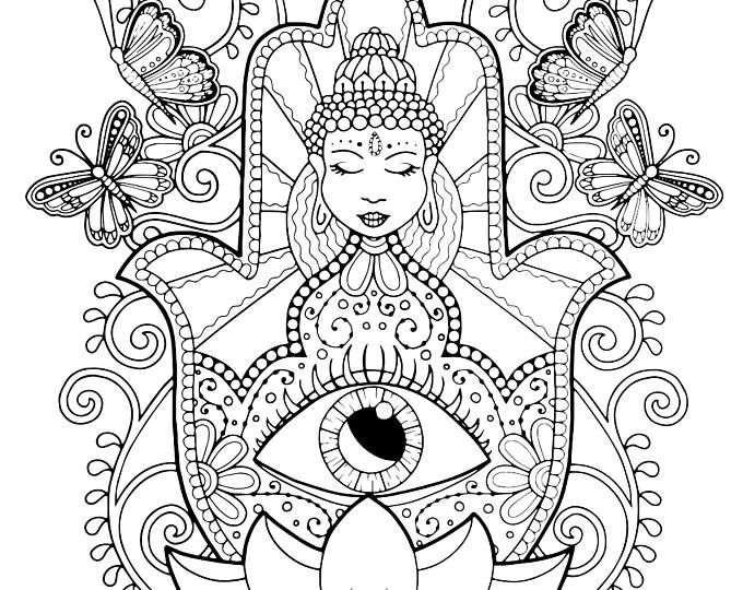 Hamsa Hand Coloring Page For Adults Of Fatima Adult Spiritual