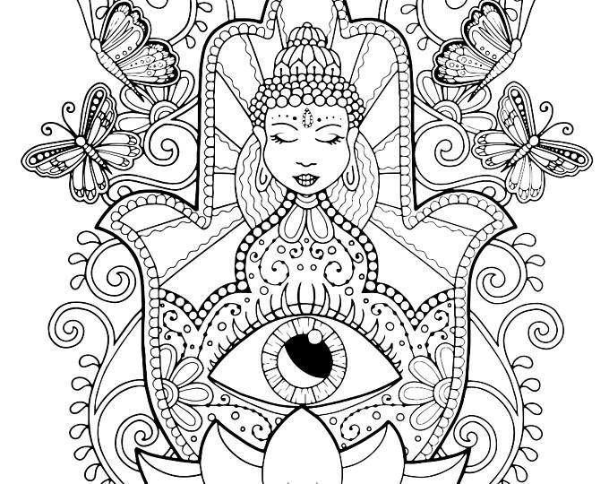 Hamsa Hand Coloring Page For Adults Of Fatima Adult Spiritual