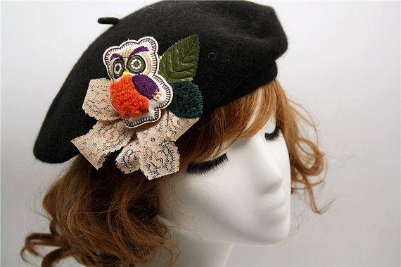 cute owl bow felt painter hat brooch woodland headpiece by missvirgolove