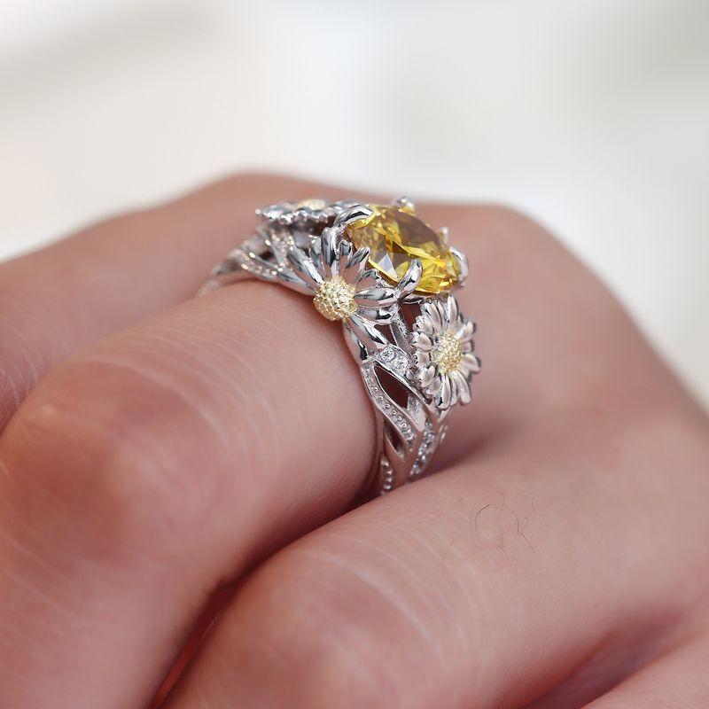 Sunflower Daisy Flower Rhinestone opening Ring