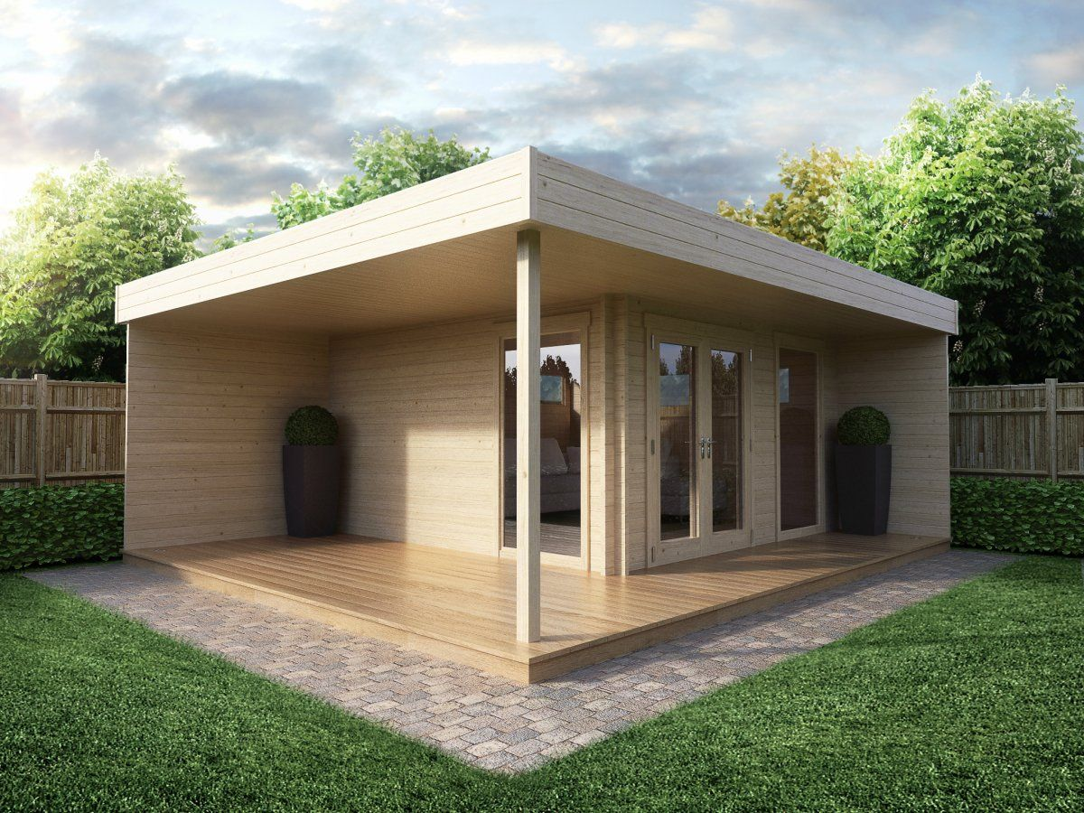 Modern Garden Office Hansa Lounge with Veranda 12m² / 44mm / 5 x 5 m ...