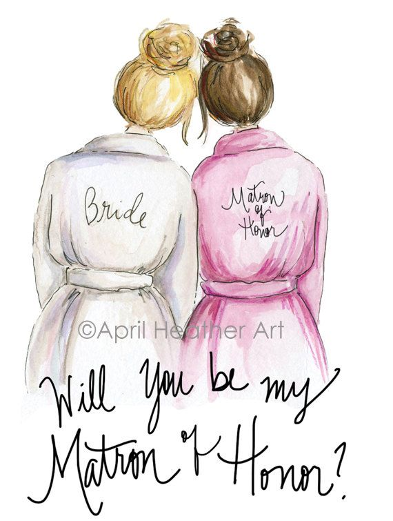 photo relating to Will You Be My Maid of Honor Printable named Matron of Honor PDF, Blonde bride Brunette Matron of Honor