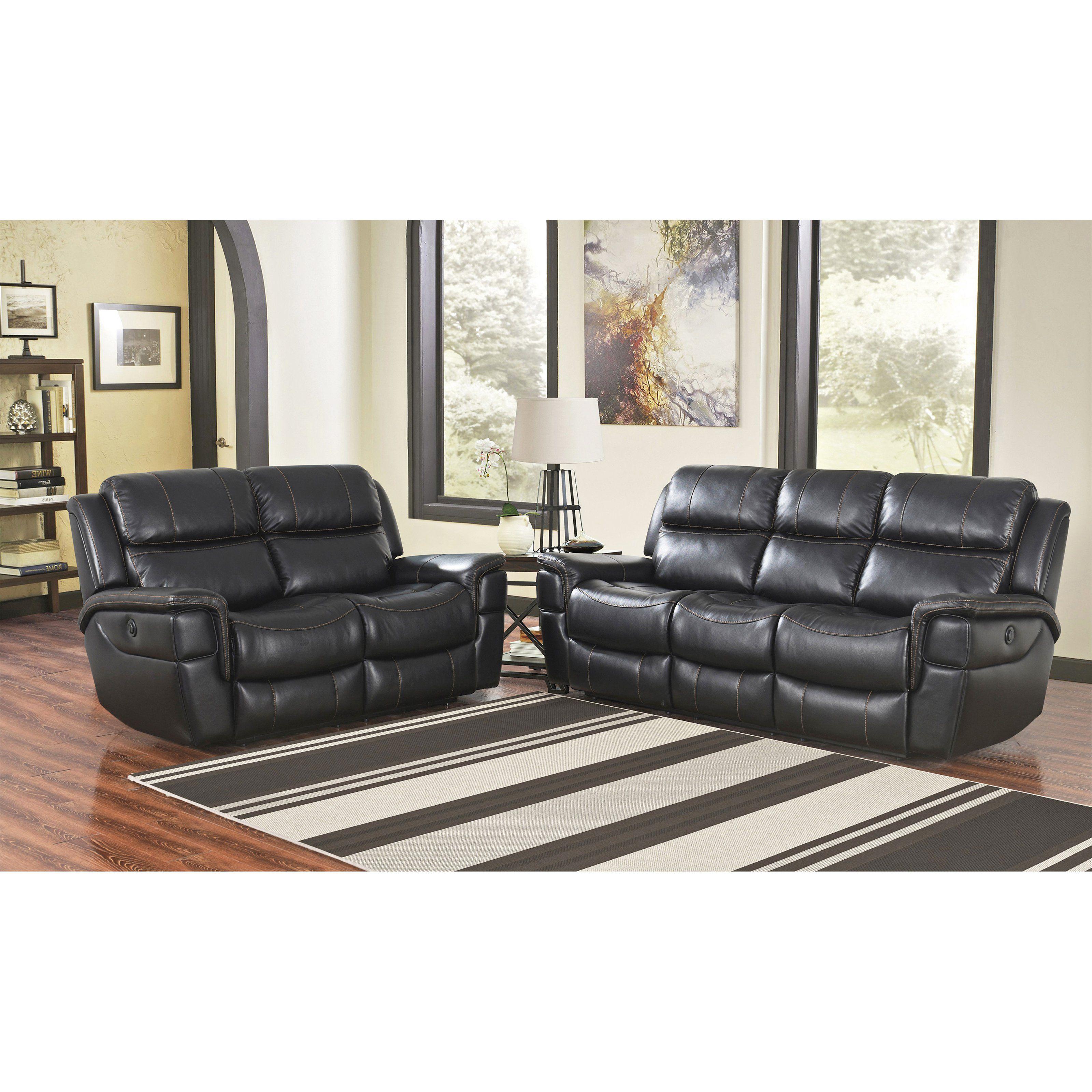 ryker reclining sofa and loveseat 2 piece set white modern bed abbyson tallia power sk 1298 blk p3 langdon black living room foam