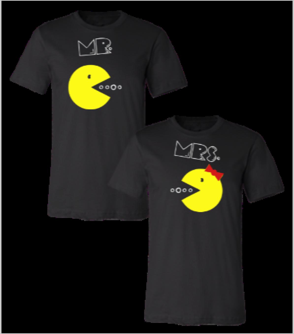 538d2da1aa0f pac man mr and mrs couple t-shirt