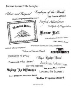 sample employee recognition award certificate titles baudville