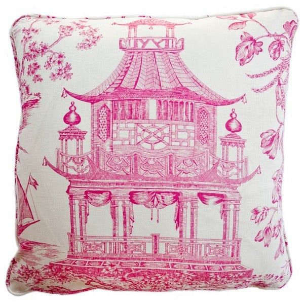 These fabulous pillows are custom made in finest luxury fabrics: pink pagoda pillow in three sizes, luxurious feather & down insert.