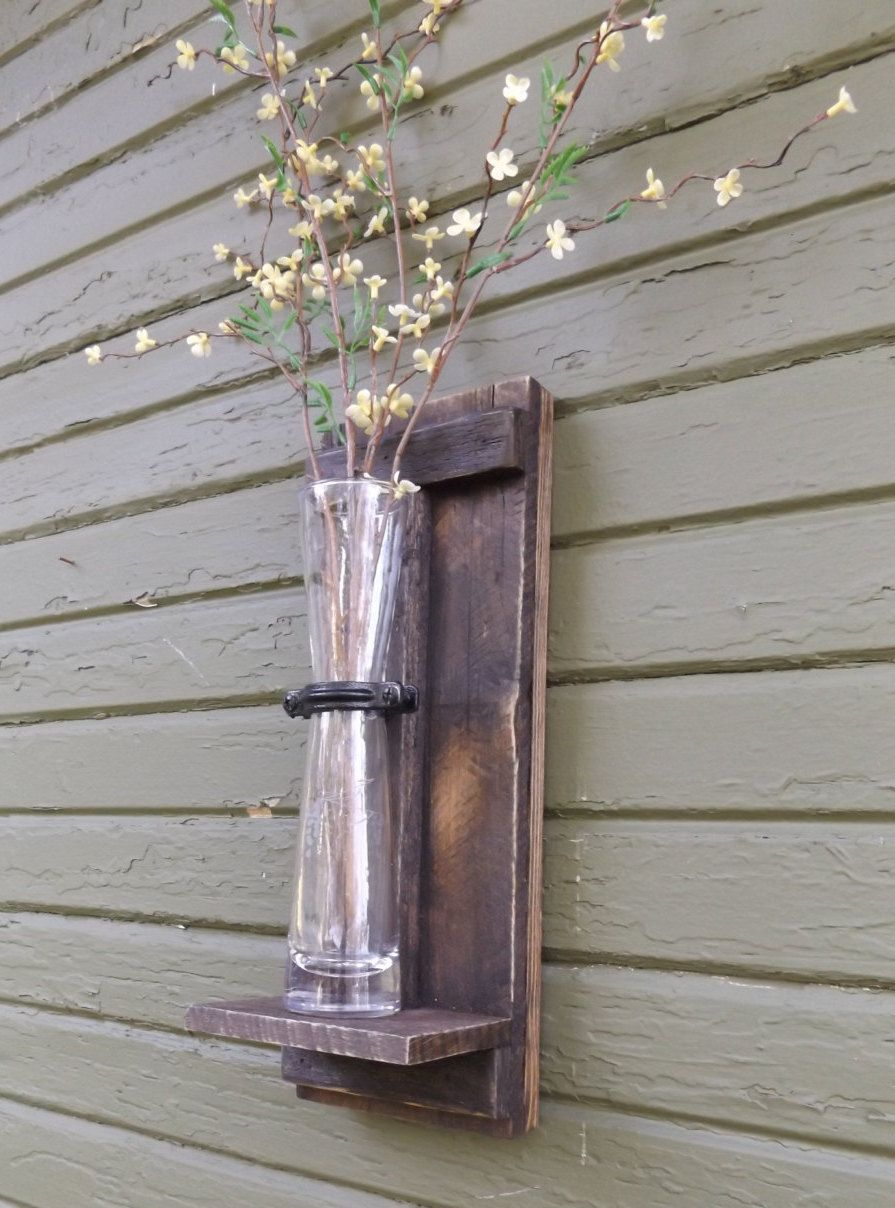 Wood Wall Sconce Vase Flower Farmhouse Decor Shabby Chic Sconces By Ourwoodscreations On Etsy
