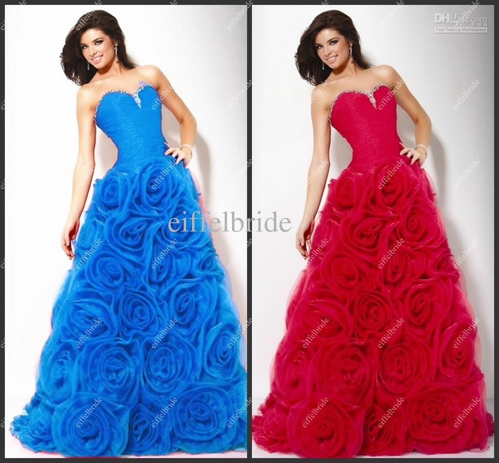 Corset Top Red Prom Dress Royal Blue Floral Accent Pageant Dress ...