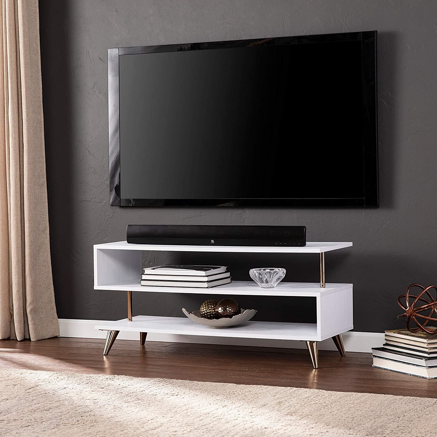 Low Profile Tv Stand White Modern Contemporary Iron Plastic