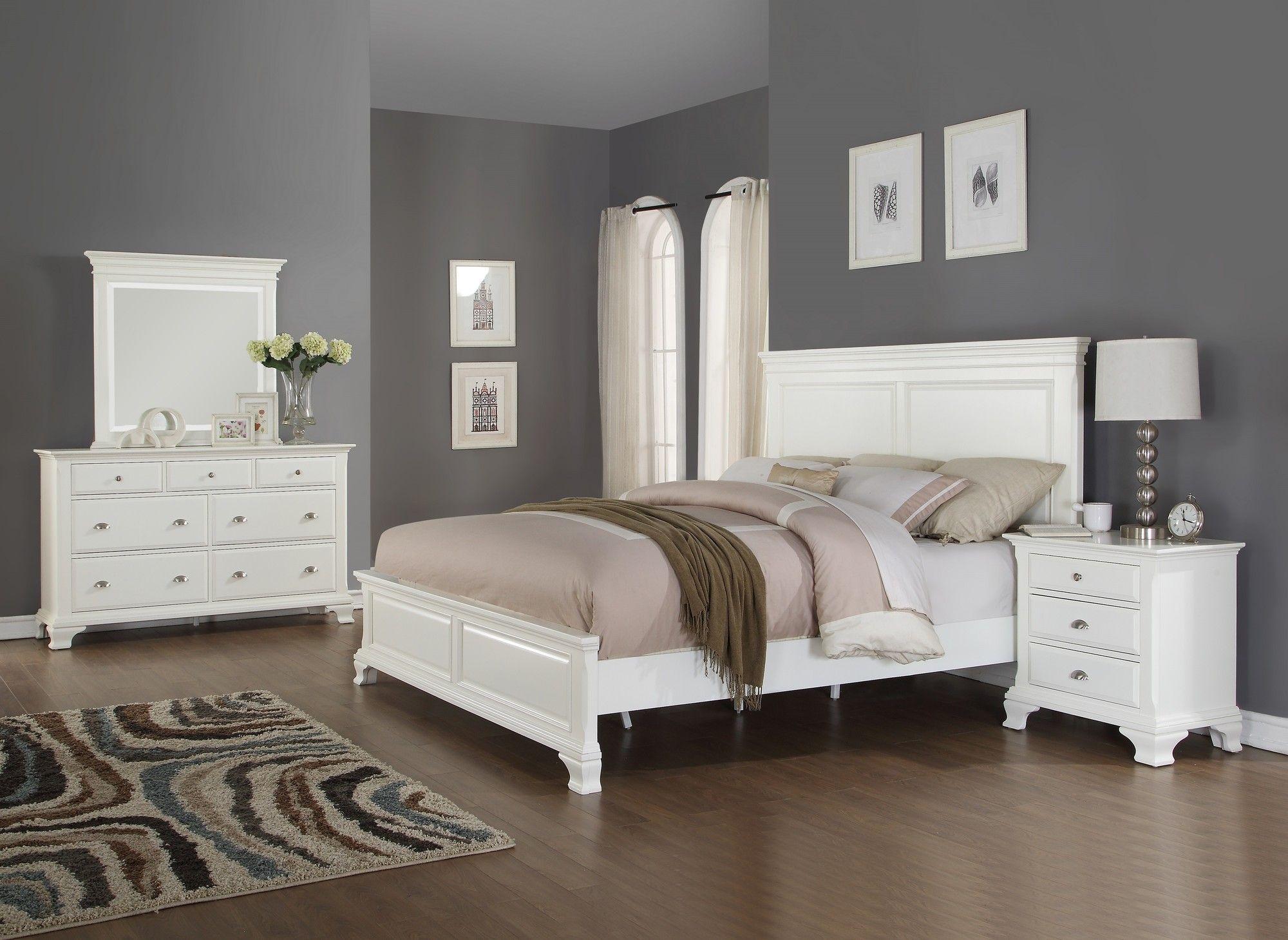 Fellsburg Panel 4 Piece Bedroom Set White Wood Bedroom Furniture