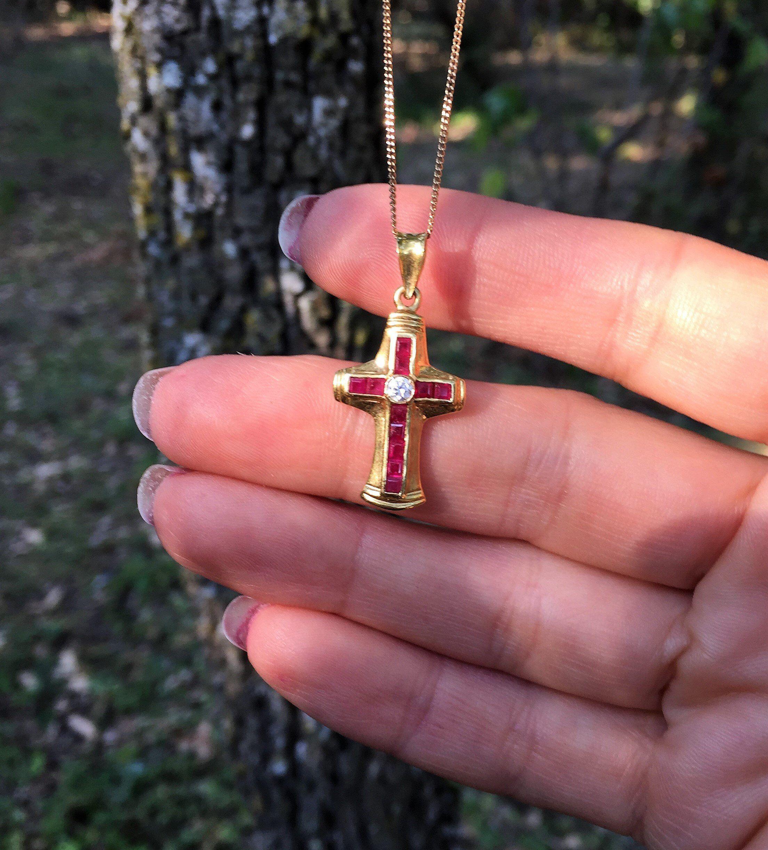 1 ct diamant Pendentif Croix Collier avec chaîne 14K or blanc de femme homme