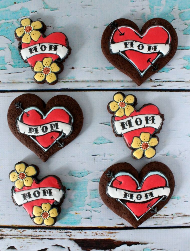 """Say """"I heart you Mom!"""" this Mother's Day with these easy (and pain-free) tattoo inspired cookies!"""