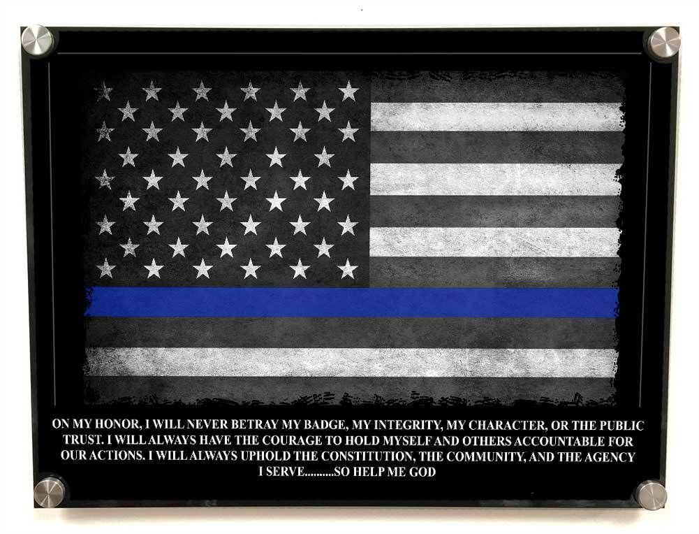 Police Wall Decor stainless steel standoff aluminum thin blue line american flag