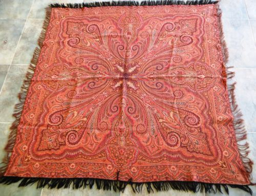 Gorgeous Huge Old Dutch Antique All Wool Kashmir Paisley