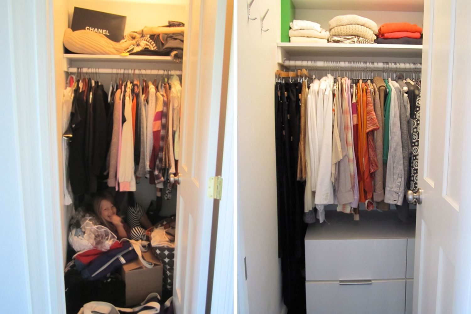 Closet Makeovers // Organized Closet Before After // Wardrobe //  Decluttering // How To Organize Your Closet // Www.SimplySpaced.com