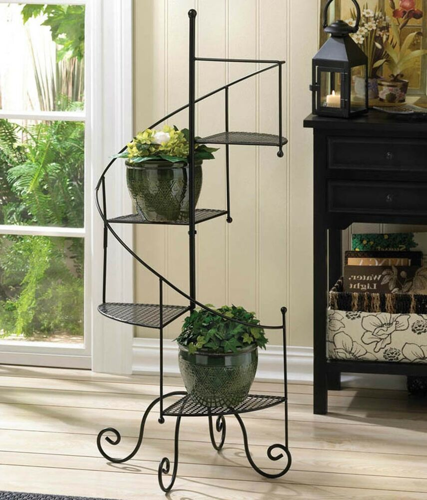 At Over 3 Feet Tall This Provides A Lot Of Space For Plants In A Very Small Footprint Material X3a I Wrought Iron Plant Stands Flower Pot Stand Flower Pots