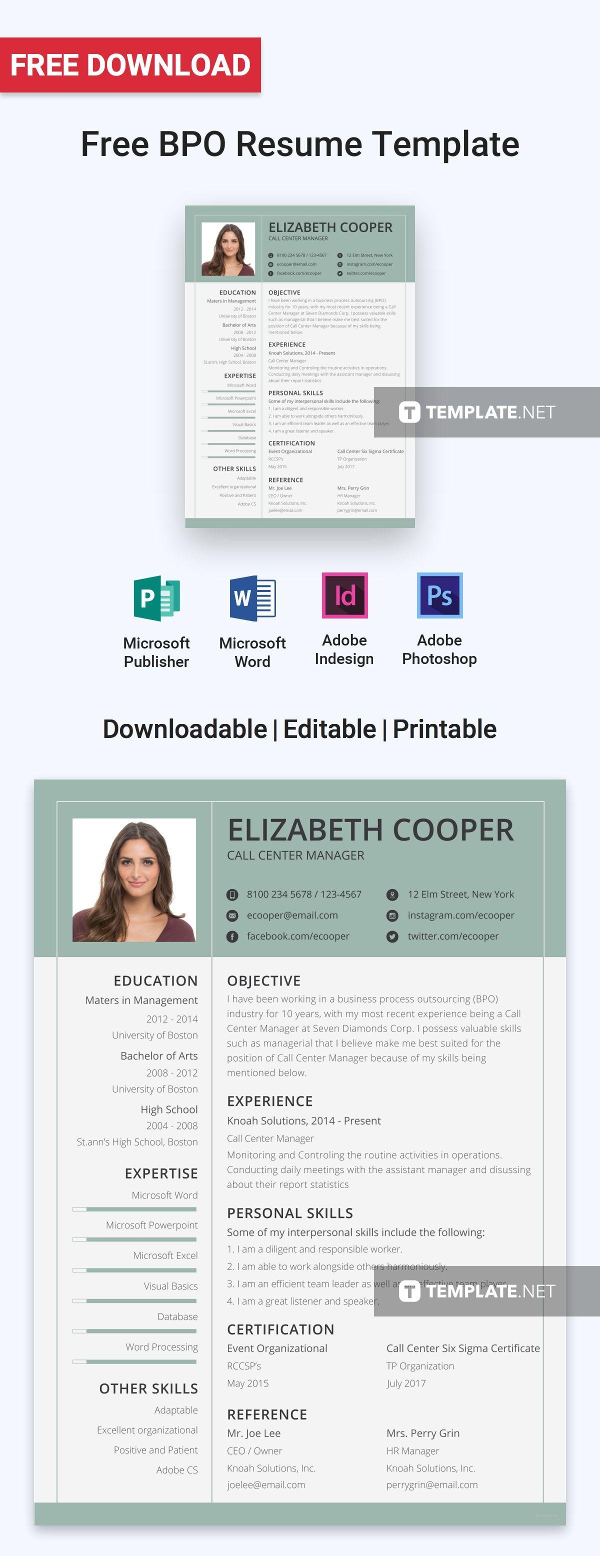 Resume Format For Bpo Jobs Free Bpo Resume  Portfoilo  Pinterest  Template