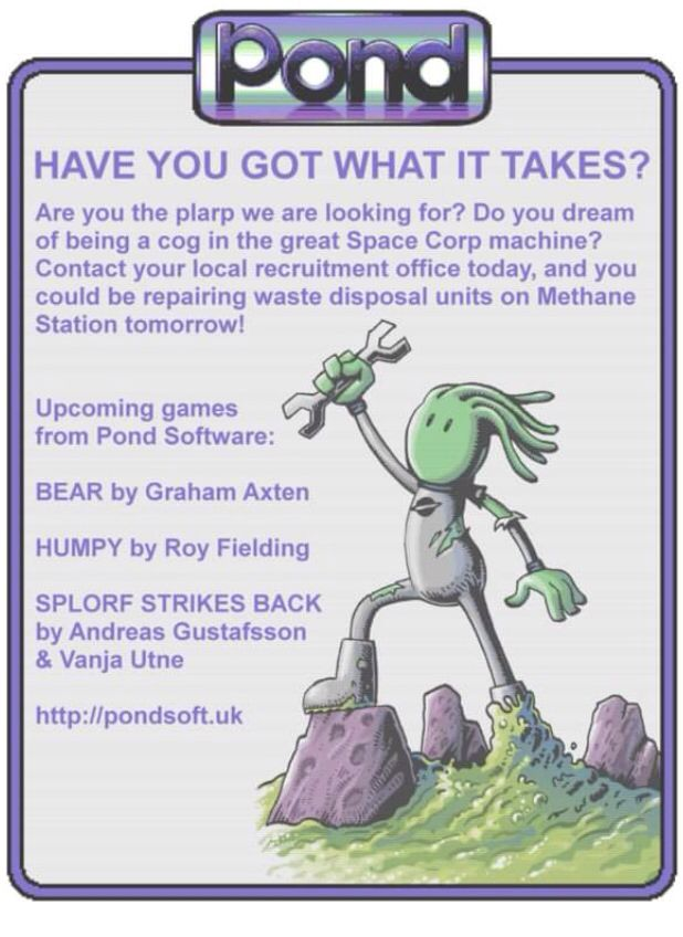 Advert for Pond software  Retro game developers for C64