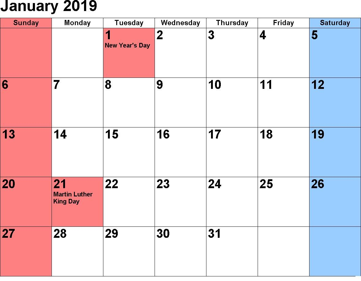 January 2019 Holidays Templateprintable
