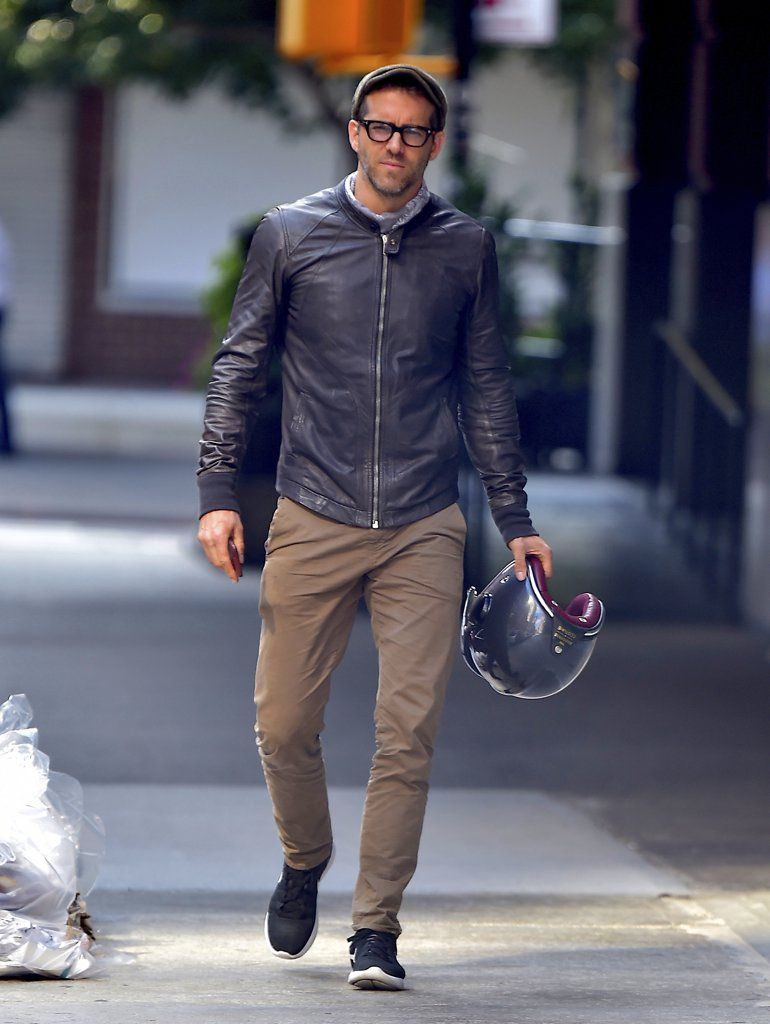 Ryan Reynolds Looks Ruggedly Handsome While Riding His Motorcycle Around NYC
