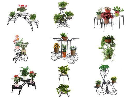 Metal Flower Pot Rack Plant Display Stand Shelf Holder Garden
