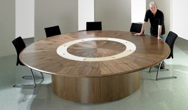 Roundwoodconferencetablewithblackofficechairs Champion - Round wood conference table