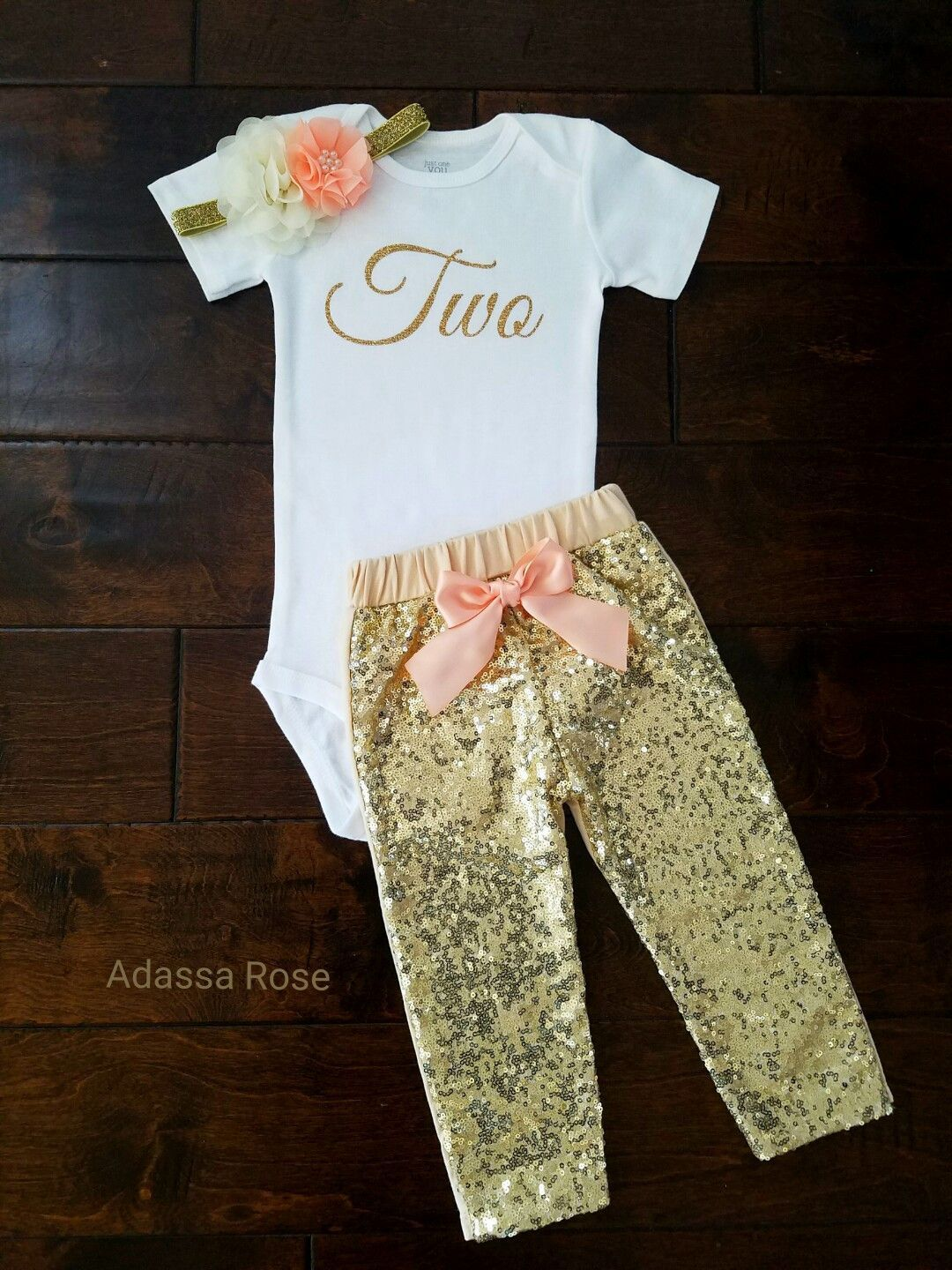 aa5727651 Show your little princess off in this oh so glam peach and gold second  birthday outfit. - Perfect for first birthday outfit or photo session.