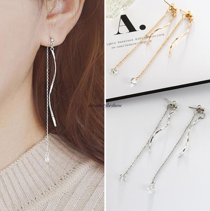 UMODE Design Fashion Star Shape Link Chain Crystal Drop Earrings for Women