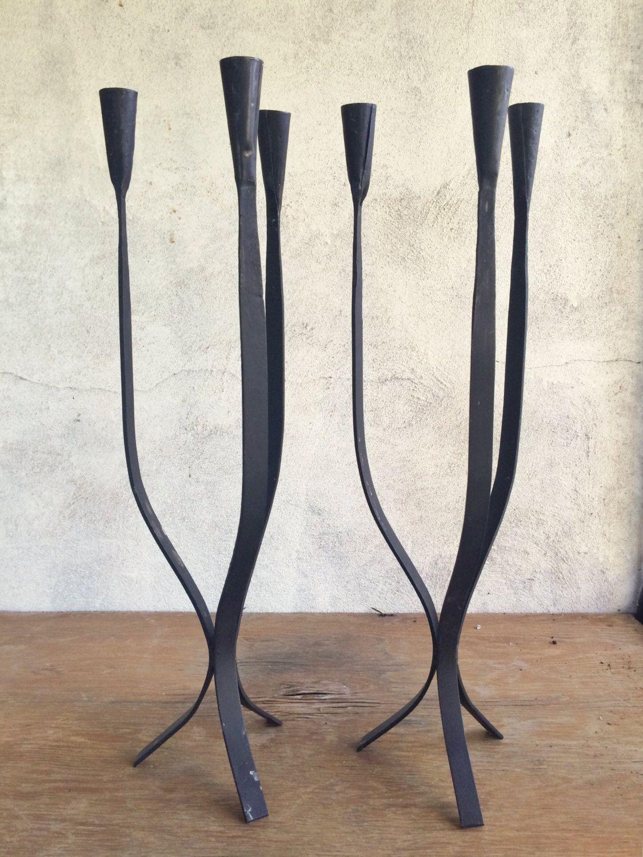 Pair Of Vintage 23 Tall Van Keppel Green Candle Stick Holders Tall Metal Candelabras Midcentur Tall Metal Candle Holders Metal Candle Holders Candle Holders