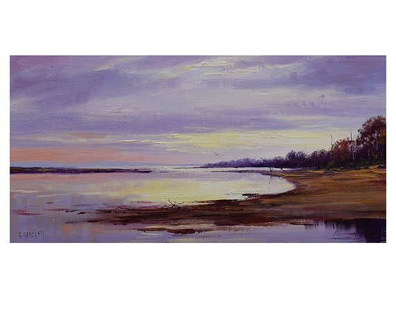 Beach Painting Original Oil Lake Painting River Painting Lake